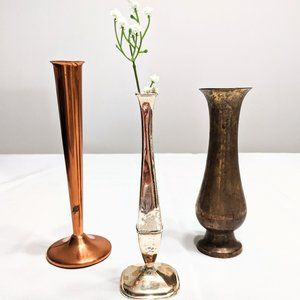 Vintage Mixed Metal Bud Vases Copper Brass Silver